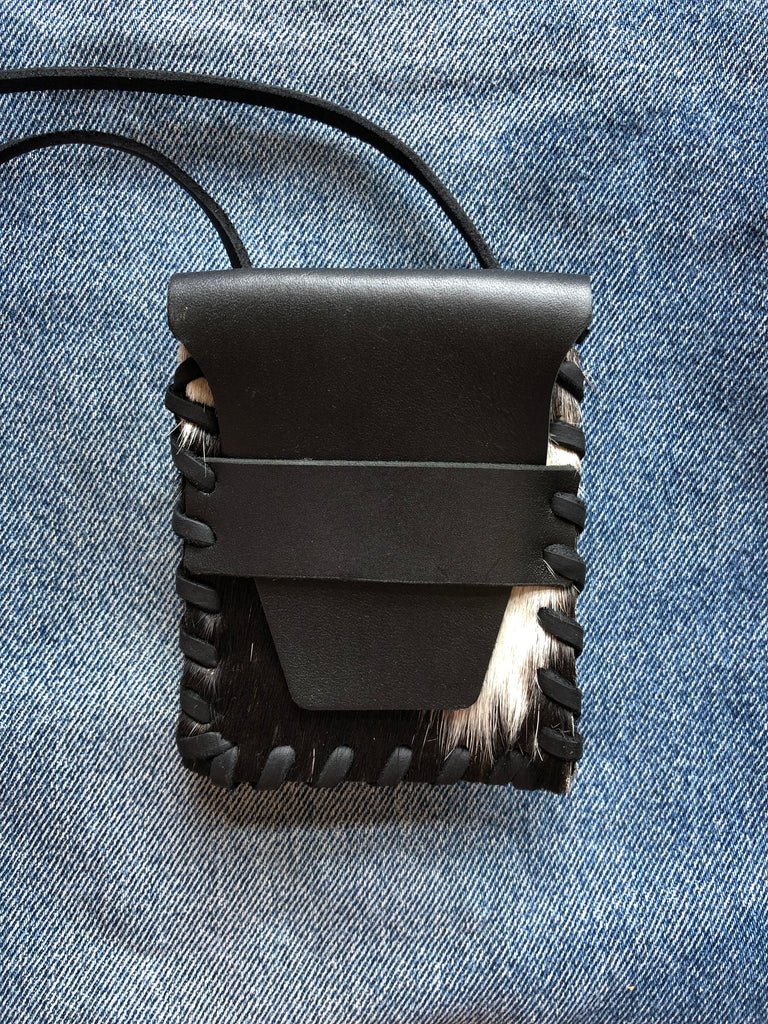 Laced Crossbody Wallet in Black and White Cowhide & Black Leather