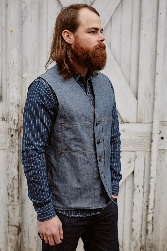 Field Pocket Indigo Chambray Vest
