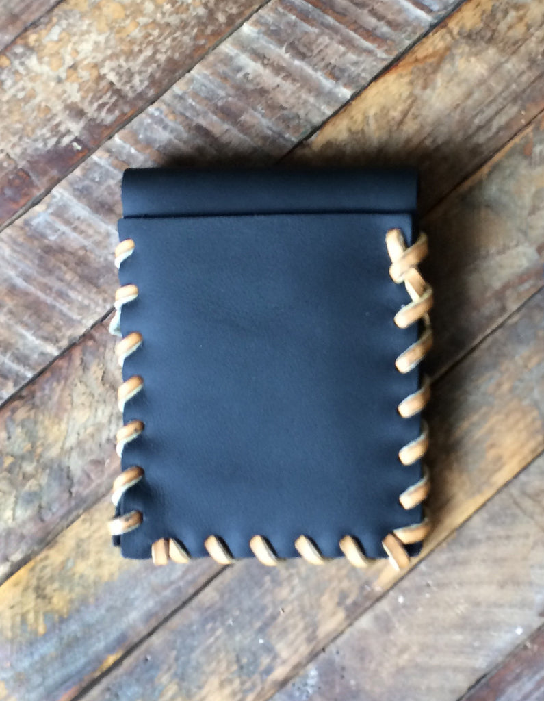 Laced Wallet in Black Leather