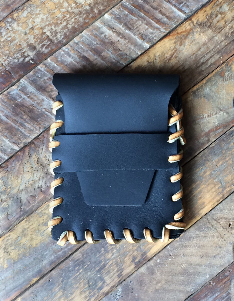 Laced Wallet in Oiled Black Leather