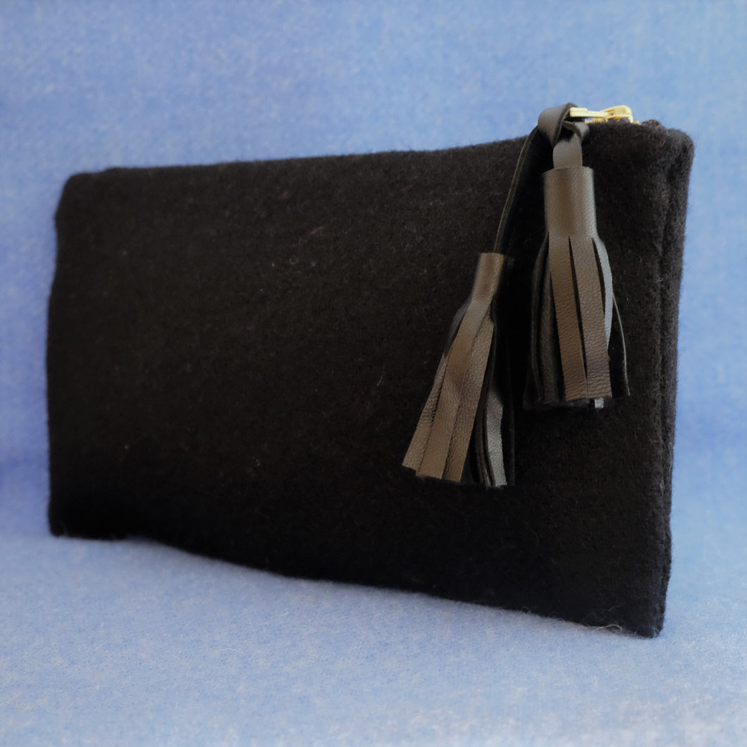 Black Harris Tweed Convertible Clutch - modren
