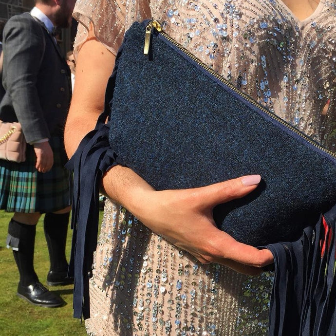DOSAN: Harris Tweed fringed convertible clutch