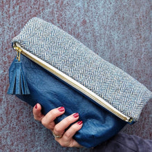 Harris Tweed and leather convertible clutch