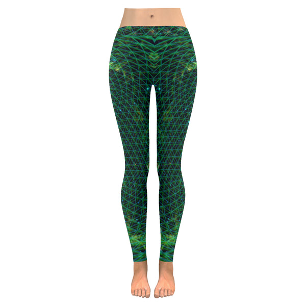 Netting of Existence Multi-Dimensional Leggings(Green) Low Rise Leggings (Model L05)