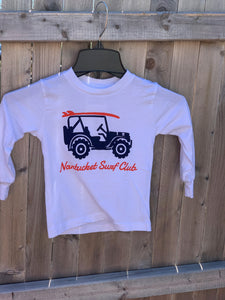 Youth White Long Sleeve Jeep Shirt