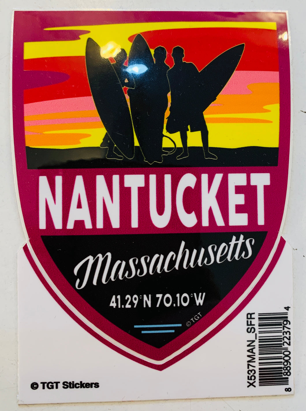 Large Nantucket Surfing Sticker
