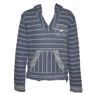 Kids Distressed Blue Striped Hoodie