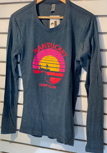 Nantucket Surf Long Sleeve Sunset Logo Heather Navy