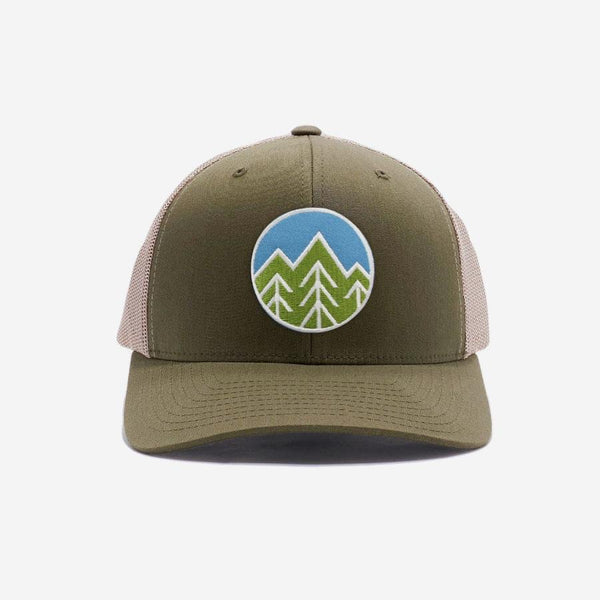 Sky Trees Trucker Hat - Khaki/Green