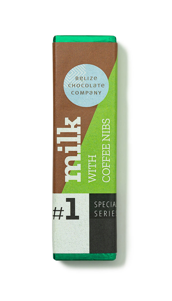Milk chocolate and coffee nibs