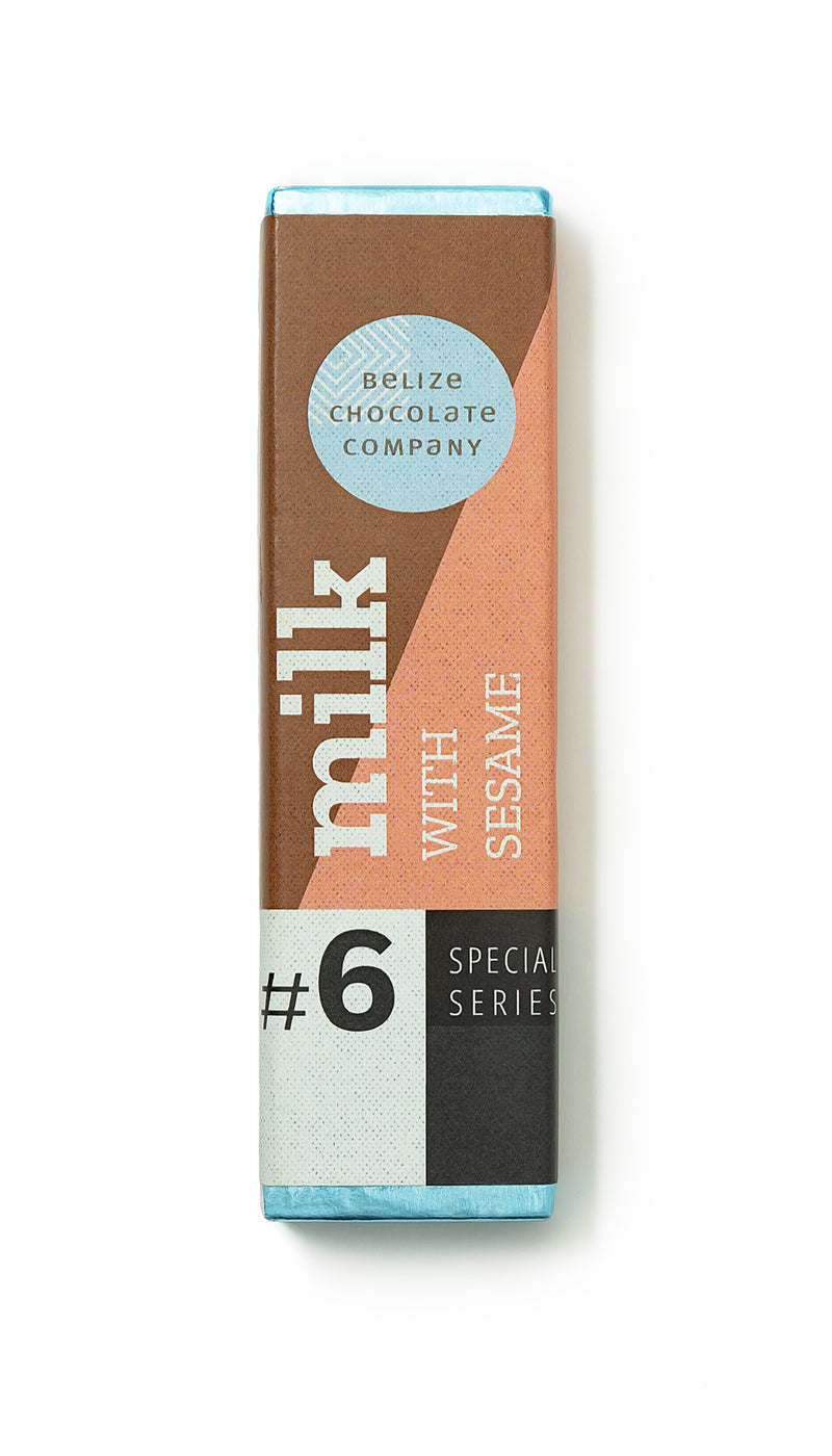 Foil wrapped milk chocolate bar with local sesame seeds 1.25 ounces