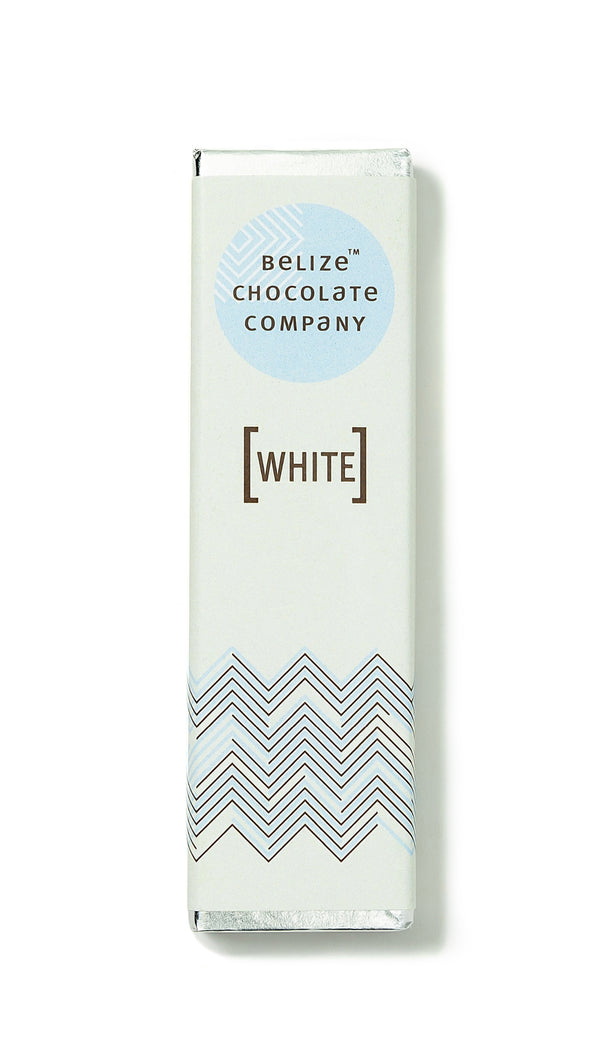 white chocolate bar wrapped in silver foil. 1.25 ounces