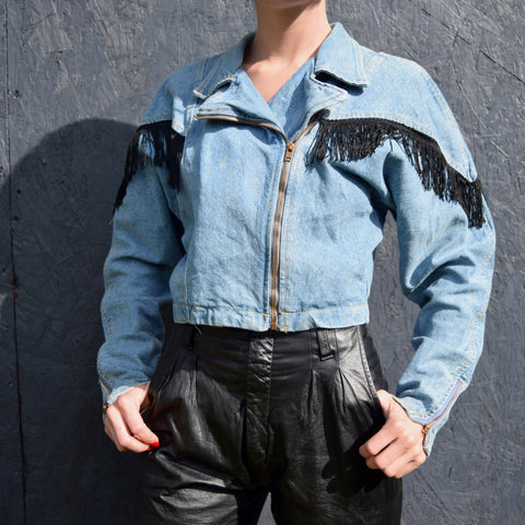 Denim Jacket w/ Black Fringe