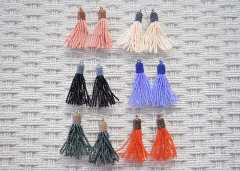 Portia Beaded Tassel Earrings