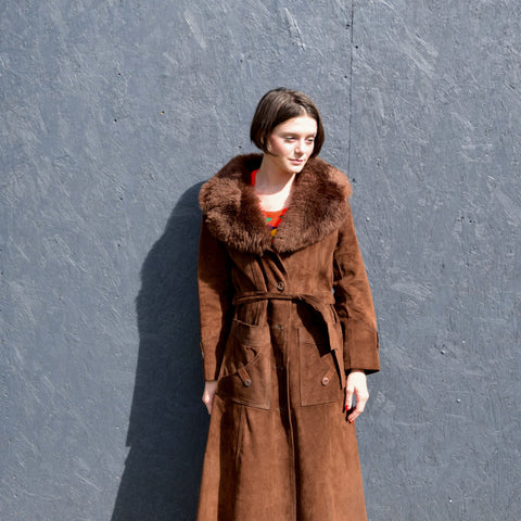 Chocolate Brown Suede + Faux Fur Coat