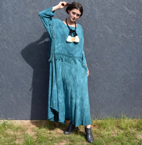 Tie Dye Teal Dress w/ Fringe