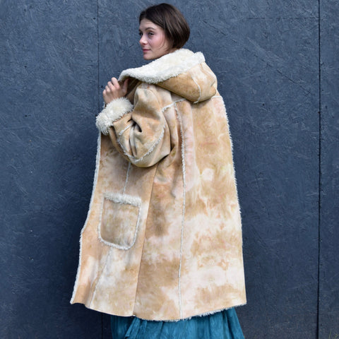 Tie Dyed Faux Suede Coat