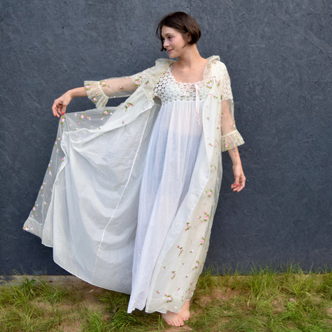 Ethereal Floral Robe + Nightgown