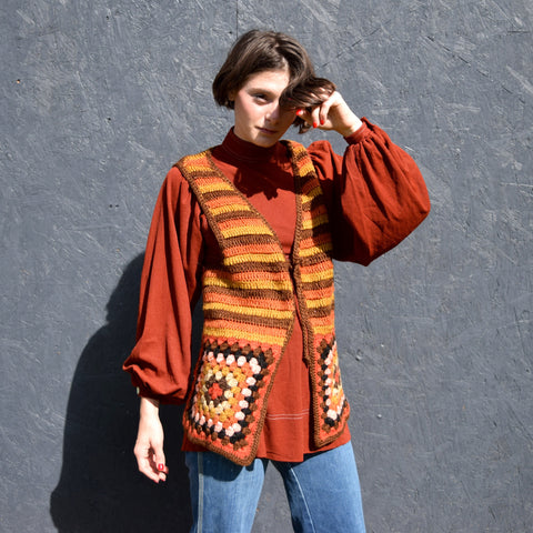 70's Rust Tunic + Crocheted Vest