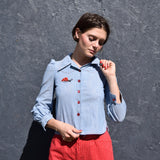 Short Chambray Shirt w/ Embroidery
