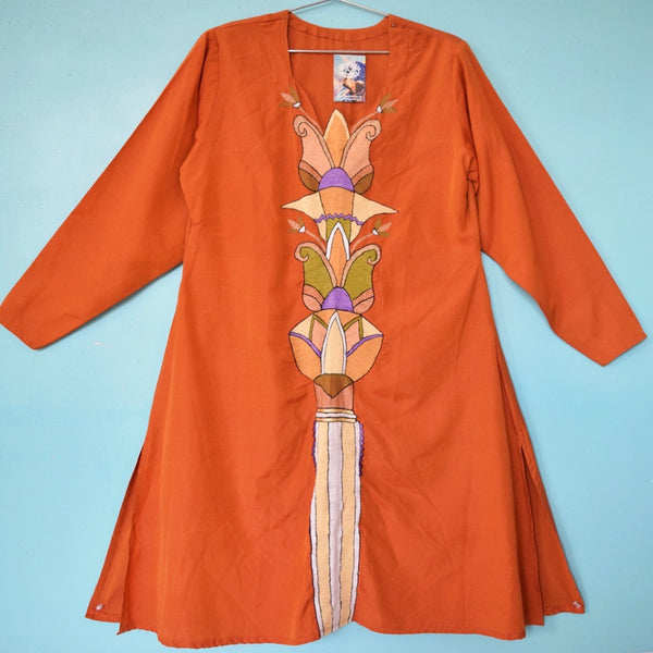 Embroidered Mini Caftan