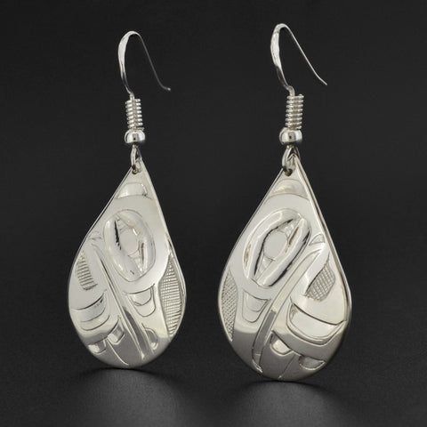 Raven and Eagle - Silver Earrings