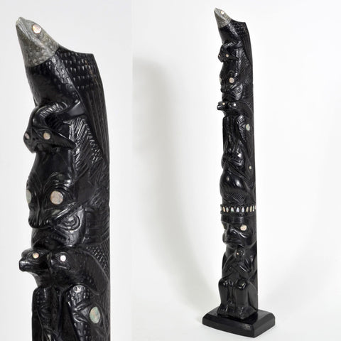 Eagles, Whales and Shaman - Argillite Pole