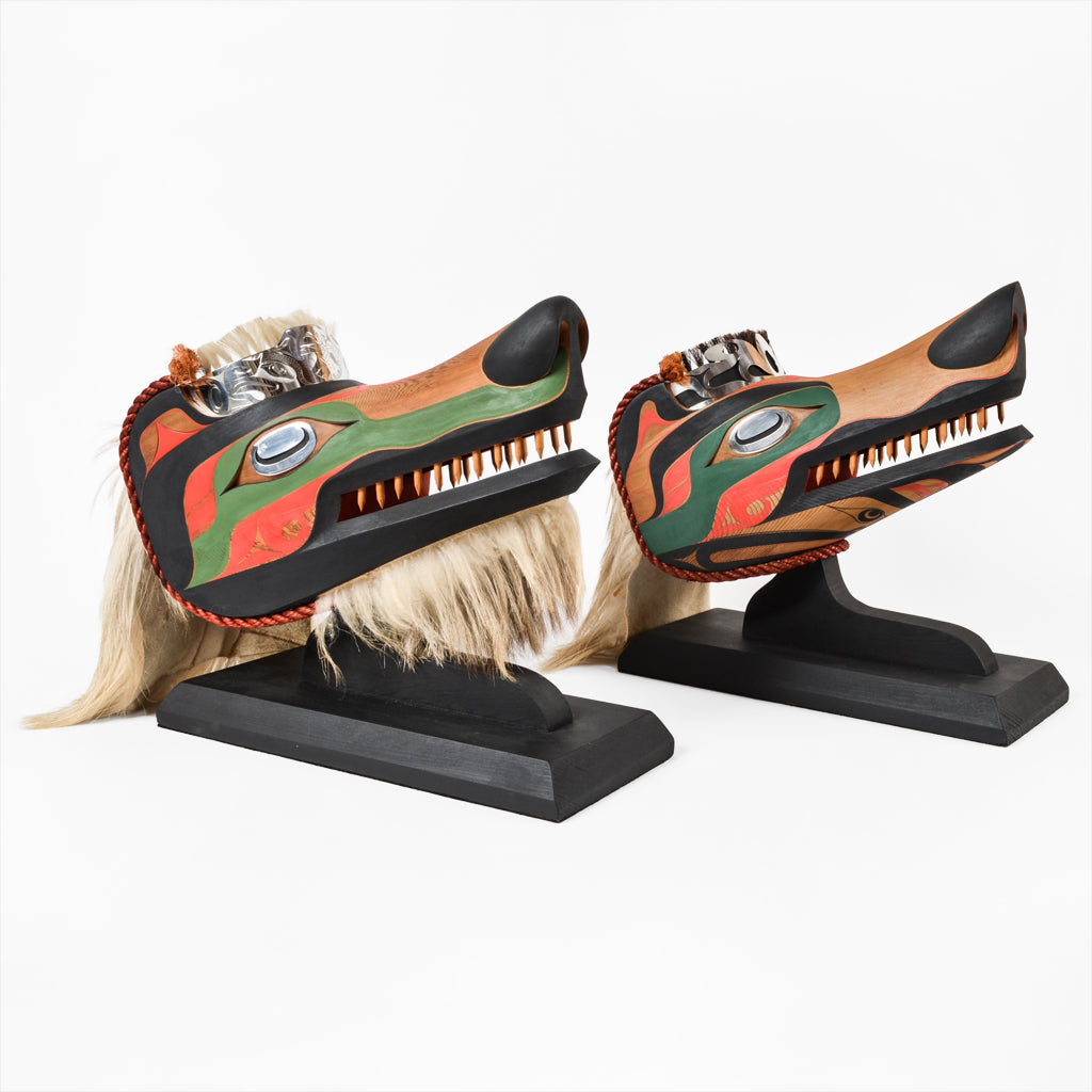 Wolves - Red Cedar Masks with Silver Frontlets