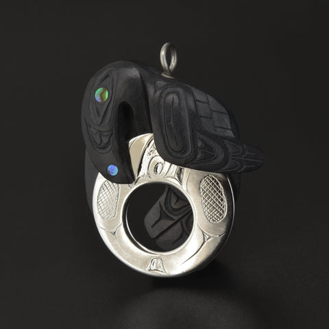 Raven Steals Moon - Silver and Argillite Pendant