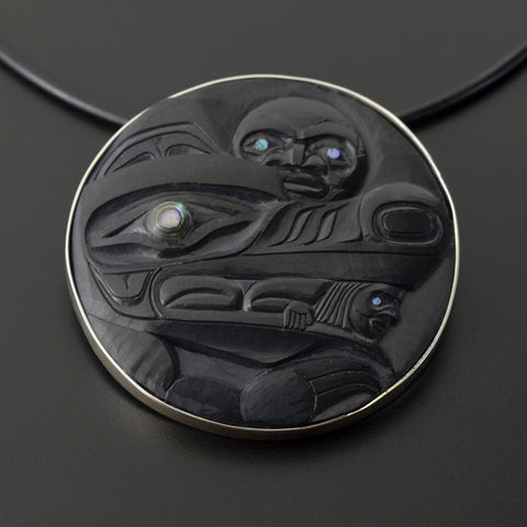 Wolf and Moon - Argillite Pendant with Abalone