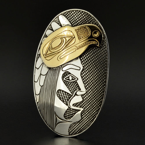 Eagle Dancer - Silver Pendant with 14k Gold