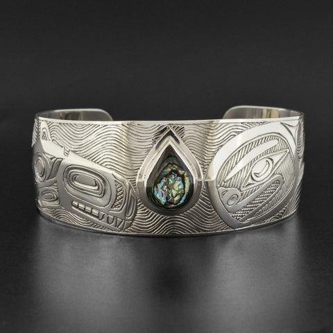 Killerwhale - Silver Bracelet with Abalone