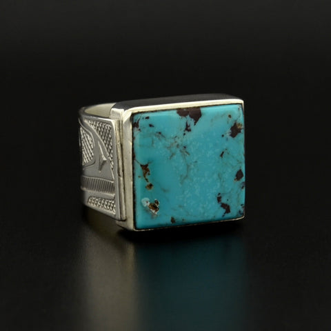 Raven - Silver Ring with Turquoise