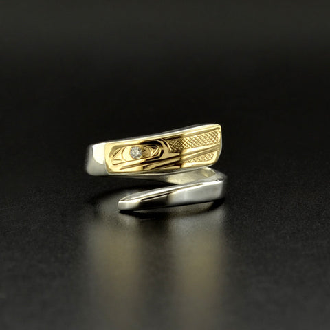 Hummingbird - Silver Wrap Ring with 14k Gold and Diamond