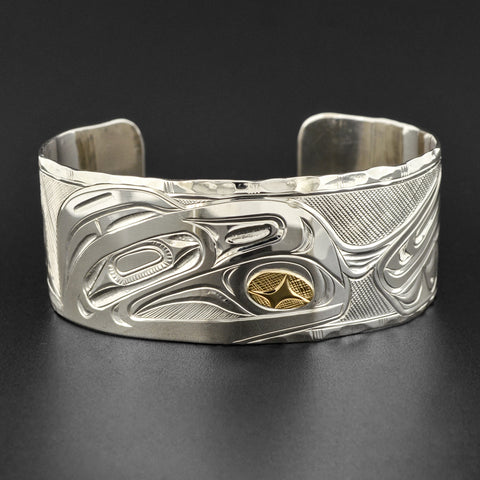 Raven and Light - Silver Bracelet with 14k Gold
