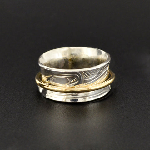 Wolf - Silver Ring with 14k Gold