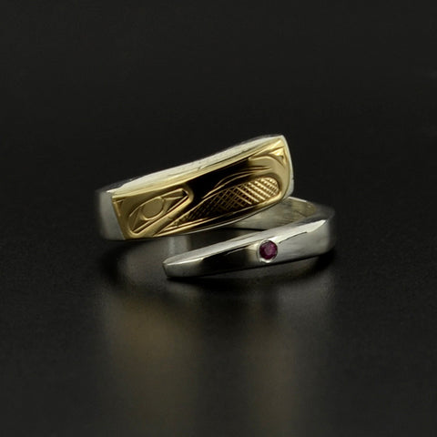 Eagle - Silver Ring with 14k Gold and Ruby