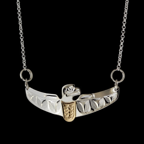 Eagle - Silver Necklace with 14k Gold Overlay