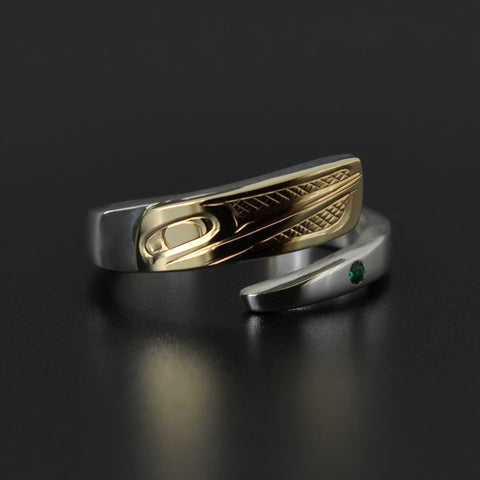 Hummingbird - Silver Wrap Ring with 14k Gold and Emerald