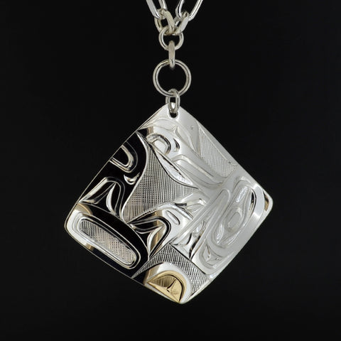 Killerwhale - Silver Necklace with 14k  Gold