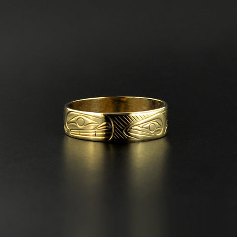 Whale and Salmon - 14k Gold Ring
