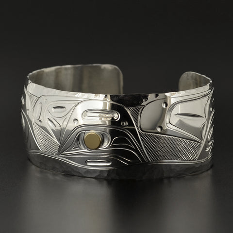 Pod of Killerwhales - Silver Bracelet with 14k Gold