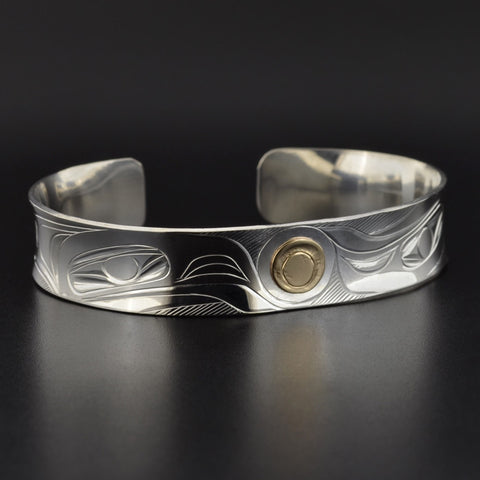 Raven and the Light - Silver Bracelet with 14k Overlay