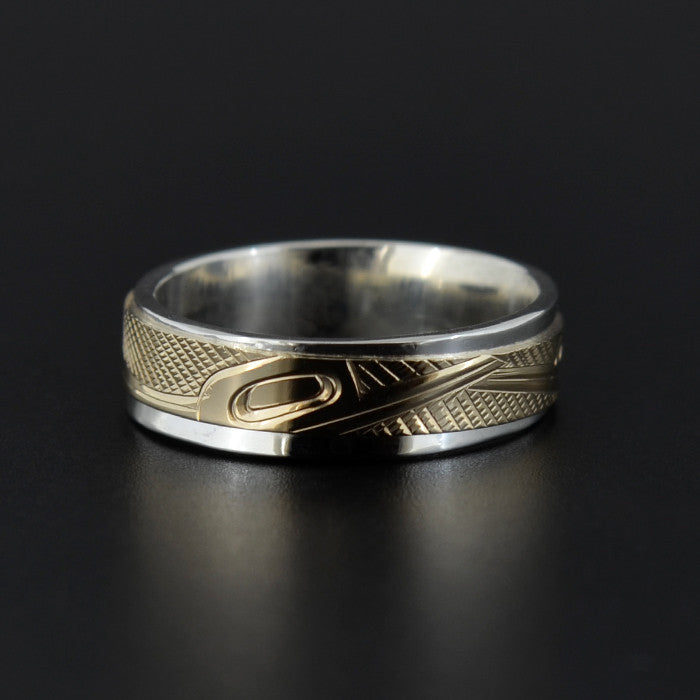 Hummingbirds - Silver Ring with 14k Gold