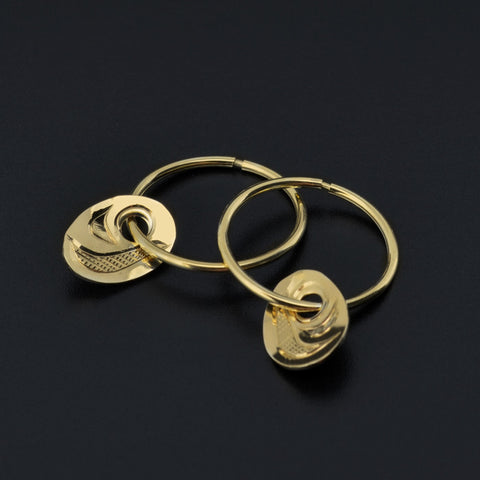 Salmon-Trouthead - 14k Gold Hoop Earrings