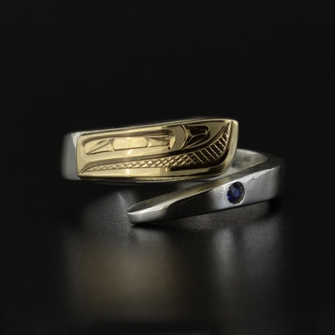 Salmon - Silver Wrap Ring with 14k Gold and Blue Topaz