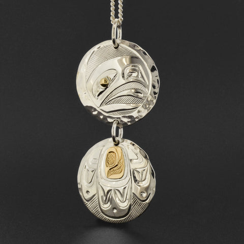 Eagle - Silver Pendant with 14k Gold