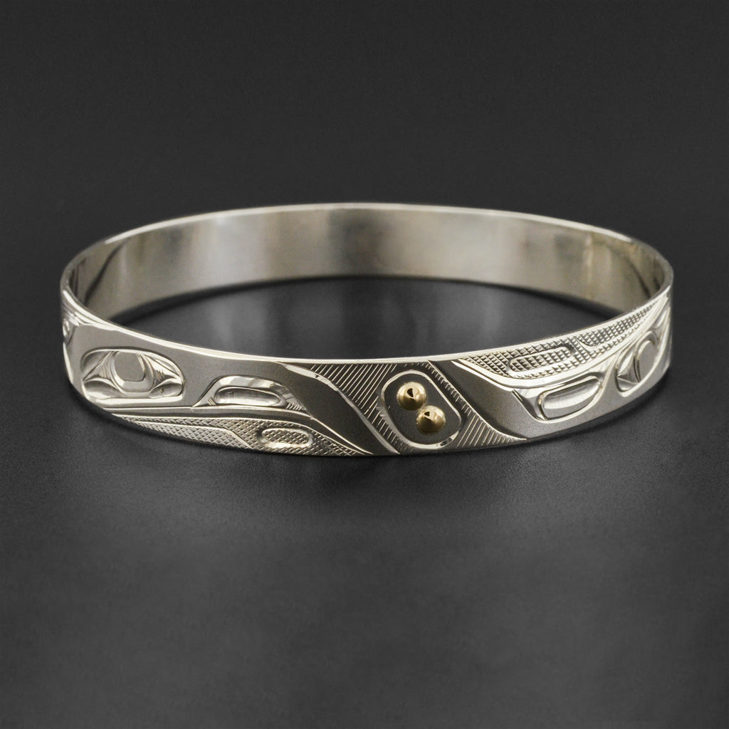Ravens - Silver Bangle with 14k Gold