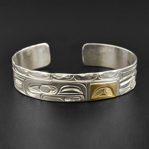 Raven and Wolf - Silver Bracelet with 14k Gold