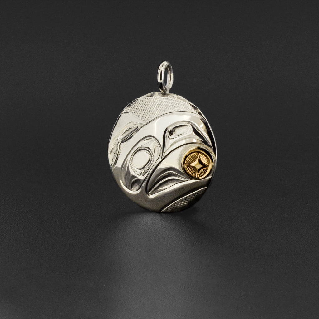 Raven and Light - Silver Pendant with 14k Gold